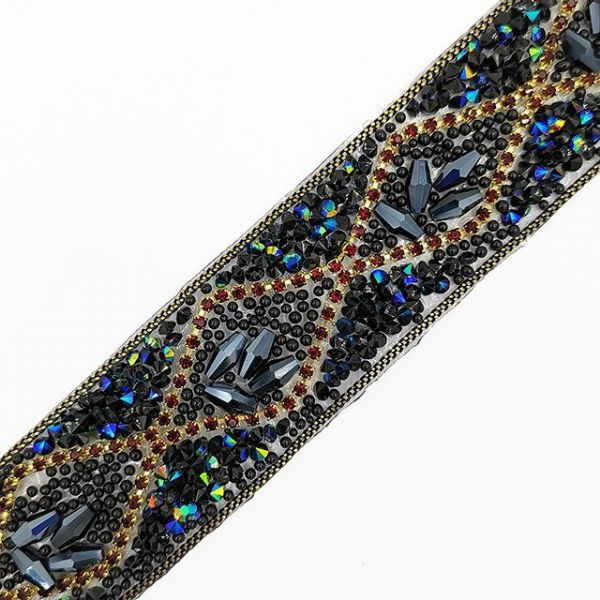 1 metre x 28mm Petrol blue, black and red crystals with chain